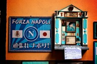 "In ""La Vita Napoletana"" soccer is taken seriously.  This famous shrine to Argentinian soccer hero Diego Maradona, who played for the Naples team at the peak of his career, was set up just outside Bar Nilo on Via San Biagio Dei Librai."
