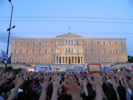 Gathering in front of the Parliament Building at Syntagma Square