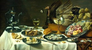 Still Life with Peacock and Pie - Pieter Claesz, c. 1627