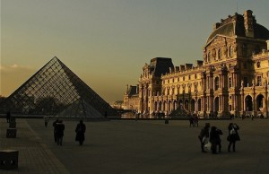 The Napoleon Courtyard of the Louvre at Dusk