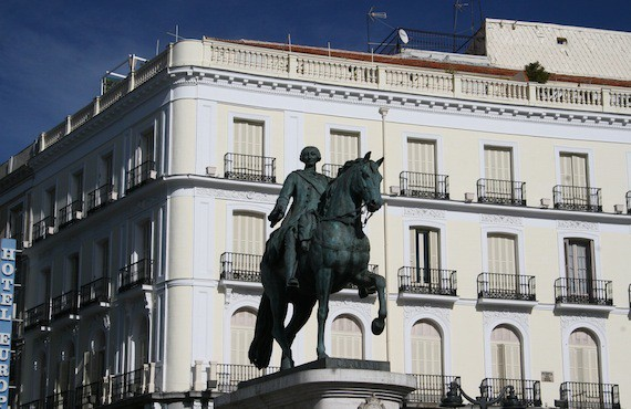 Statue of King Charles III in Puerta del Sol - pay close attention to the inscription for a complete list of Charles III's accomplishments