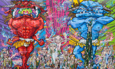 RED DEMON AND BLUE DEMON WITH 48 ARHATS, 2013, TAKASHI MURAKAMI