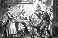 Krampus and Saint Nicholas visit a Viennese home in 1896