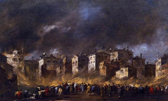Francesco Guardi, Fire at the San Marcuola Oil Depot, 1789