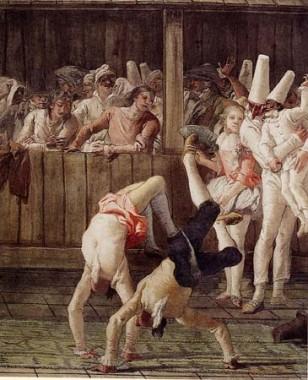 Giandomenico Tiepolo, Pulcinella and the Tumblers, 1797