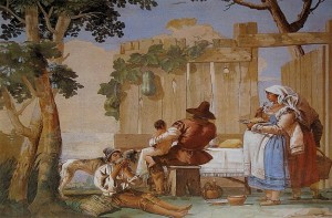 Giandomenico Tiepolo, Peasant family at table, 1757