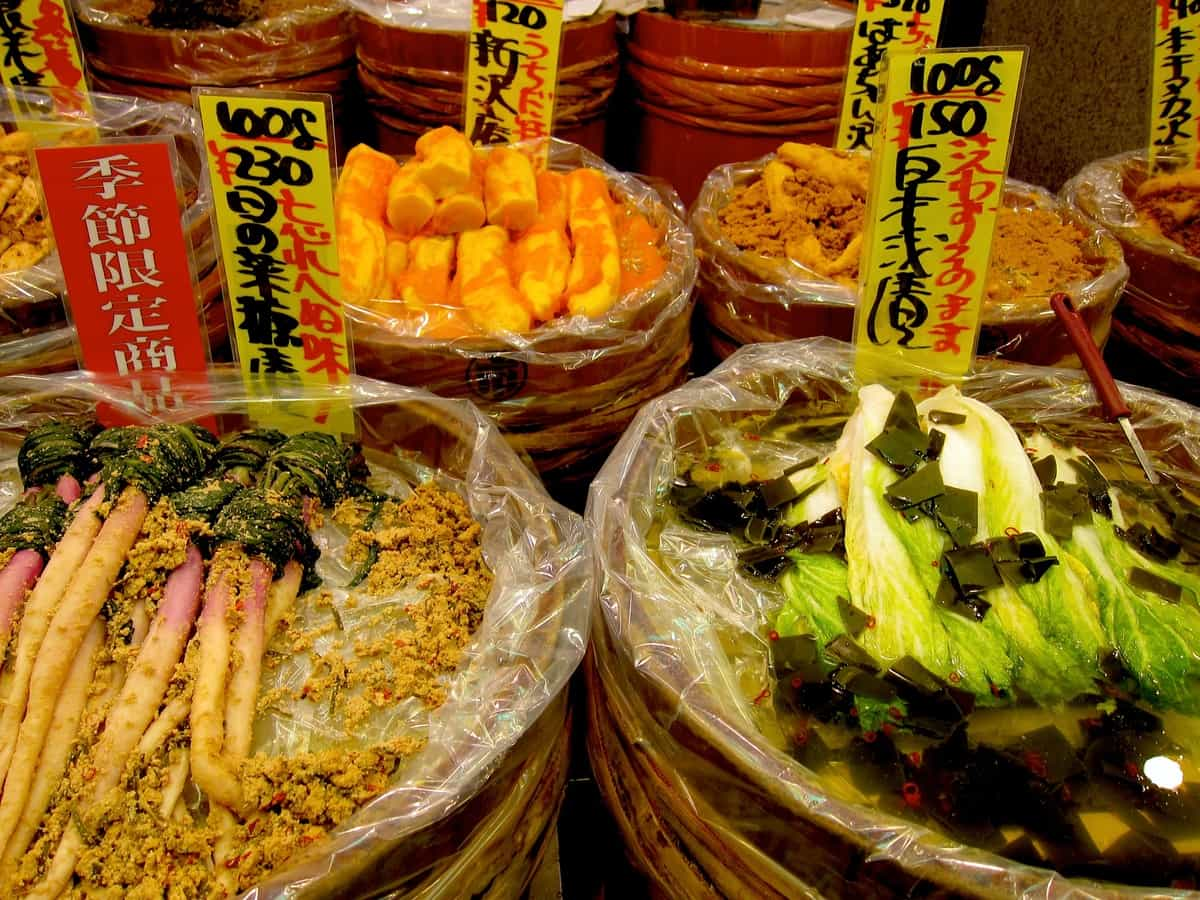 You'll see nukazuke in wooden barrels throughout Nishiki Market, and you'll find them in their fully pickled form as a side dish at nearly every meal.