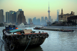 The Huangpu River and a sliver of the Bund skyline