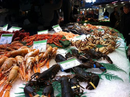 Fresh seafood in La Boqueria market.