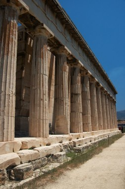 Temple of Hephaestus, doric colonnade facing the Agora; via Wiki Commons