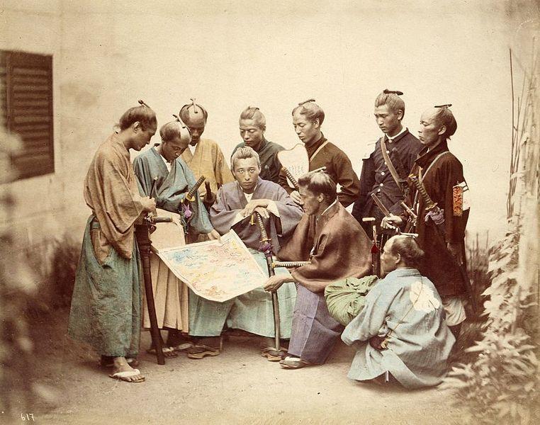 Samurai during the Boshin War period 1860s, via Wikimedia Commons