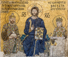 The Empress Zoe mosaics (11th-century) in Hagia Sophia (Istanbul, Turkey) Christ Pantocrator is seated in the middle. On his right side stands emperor Constantine IX Monomachos; on his left side, empress Zoe. Courtesy of WikiCommons