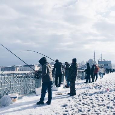 Istanbul Galata Bridge in snow
