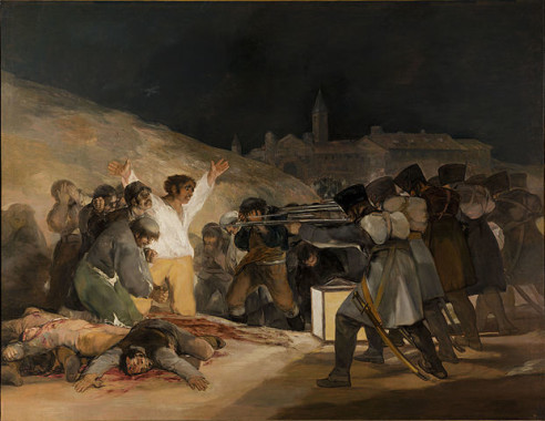 """El Tres de Mayo, by Francisco de Goya, from Prado thin black margin"" by El_Tres_de_Mayo,_by_Francisco_de_Goya,_from_Prado_in_Google_Earth.jpg: Francisco de Goyaderivative work: Papa Lima Whiskey 2 - This file was derived from: El Tres de Mayo, by Francisco de Goya, from Prado in Google Earth.jpg . Licensed under Public Domain via Wikimedia Commons."