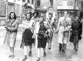 A patrol of armed women in 1945