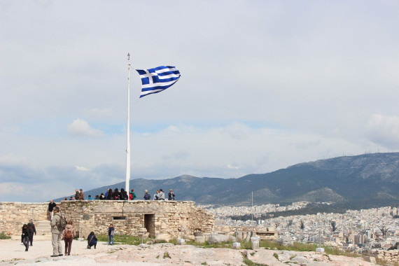 Greek Flag on Acropolis - Visit the Acropolis