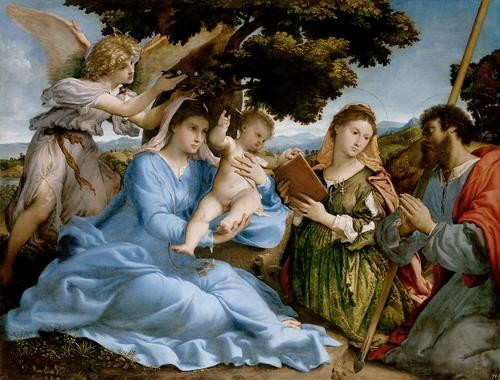 Madonna and Child with Saints and an Angel by Lorenzo Lotto - The represented saints are Catherine of Alexandria and Thomas.