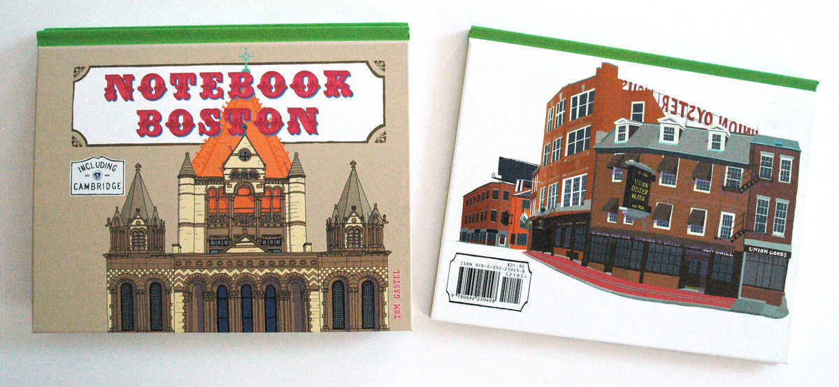 Notebook Boston Front and Back Covers on White  Background