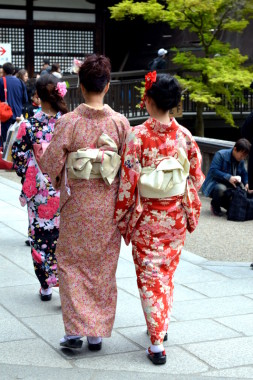Visiting a Temple in Traditional Kimono