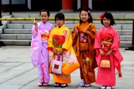 Girls wearing their kimonos for the first time.
