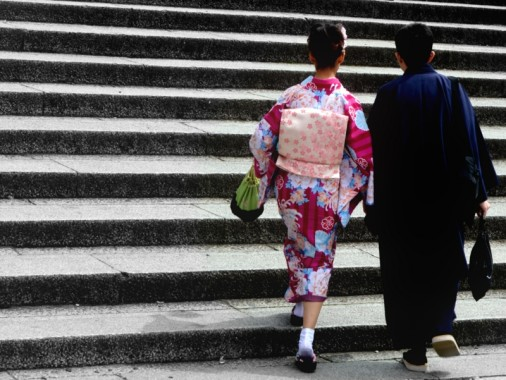 Couple wearing kimonos