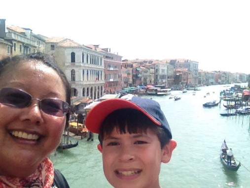 Lisa and nephew in Venice