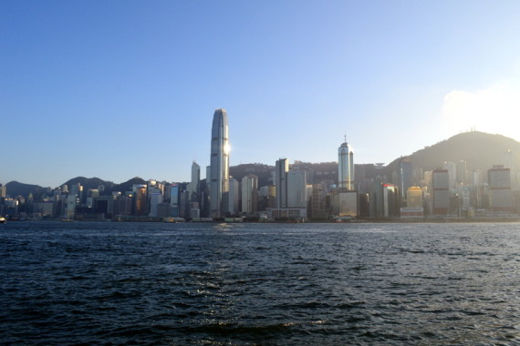 Victoria Harbour and the mountains beyond, great for day trips from Hong Kong
