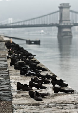 Shoes on the Danube Bank, Budapest; photo by Nikodem Nijaki via Wikipedia